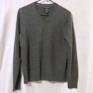 Banana Republic Gray Merino Wool V-Neck Sweater